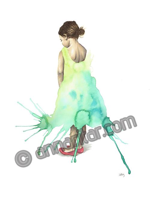 Flicka i klänning